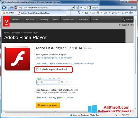 Skjermbilde Adobe Flash Player Windows 8.1