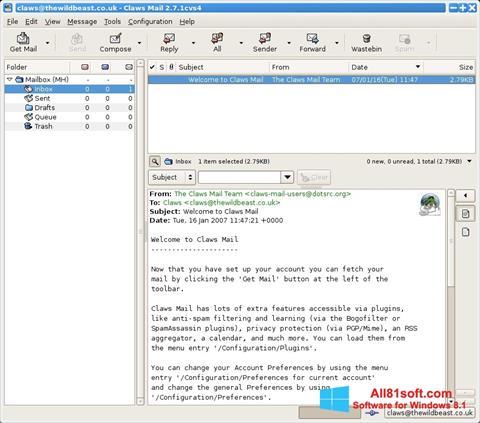 Skjermbilde Claws Mail Windows 8.1