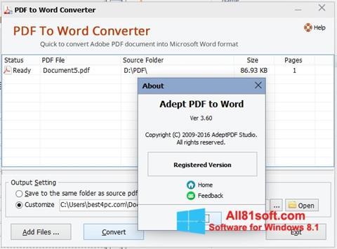 Skjermbilde PDF to Word Converter Windows 8.1
