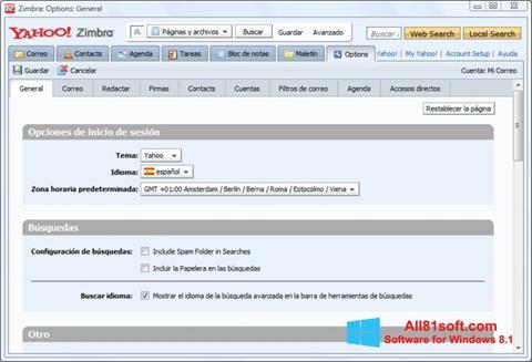 Skjermbilde Zimbra Desktop Windows 8.1